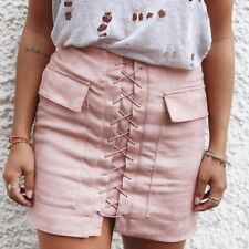 Women Solid Color Bandage Mini Skirt Autumn Winter Casual Slim Pencil Skirt with