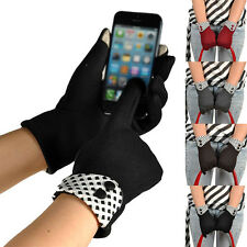 Fashion Womens Dots Touch Screen Gloves Winter Warm Fleece Lined Wrist Glove New