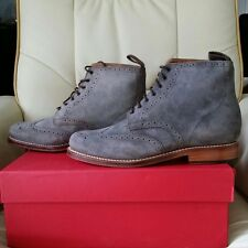 NIB Grenson Sharp Snuff Suede Brogue Boots (Grey) RRP $400