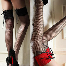 Women Sexy Girl Skinny Lace Top Sheer Over Knee Thigh Fish Net High Stockings