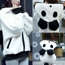 Women Fleece Loose Fluffy Panda Ear Hoody Hooded Jacket Warm Coat Outerwear