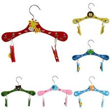 Kids Wooden Clothes Hangers with Clips Shirt Skirt Coat Use
