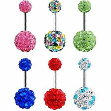 New Barbell Crystal Ball Navel Ring Piercing Body Jewelry Belly Button