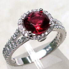 CHARMING 2 CT RUBY 925 STERLING SILVER MICRO PAVE RING SIZE 5-10