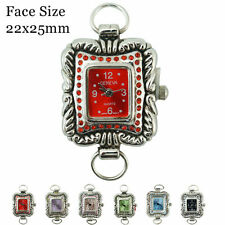 Ladies Geneva Colored Stone Beading Watch Faces Rectangle Shaped 22x25mm