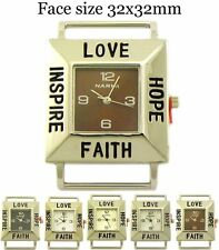 Inspirational Square Solid Bar Beading Watch Faces Love Hope Faith Inspire 32mm