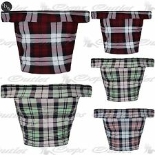 Womens Ladies Gill Tartan Checked Print Off Shoulder Sleeveless Bardot Crop Top