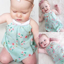 New Baby Girls Casual Floral Romper Jumpsuit Bodysuit Backless Sunsuit Outfits
