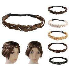 Womens Girls Braided Wig Ponytail Elastic Rope Pretty Pearl Hair Band Headband