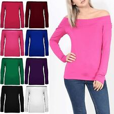 Womens Ladies Off Shoulder Long Sleeve Bardot Tee Top Casual Stretchy T Shirt