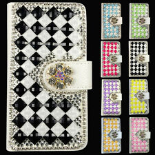 Bling Crystal Diamonds PU leather flip slots stand wallet case cover For HTC