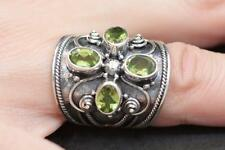 Handmade Solid Sterling Silver 925 Bali Oxidized 4x Gem Dome Ring. Cz Stone/Size