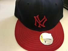 NWT NEW YORK YANKEES NAVY AND RED RETRO 5950 NEW ERA FLAT BRIM FITTED HAT