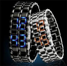 New Unisex Volcanic Lava Iron Metal Faceless Bracelet Digital LED Wrist Watch