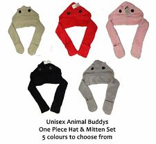 Animal Buddys One Piece Hat Gloves Scarf Animal Hood Hat Super Soft One Size NEW