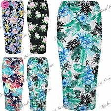 Womens Ladies Floral Roses Leaves Summer Sunny Bodycon Pencil Tube Midi Skirt