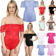 Womens Ladies Frill Floral Lace Slash Off Shoulder Jumpsuit Playsuit Plus Size