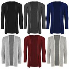 Mens Sweater Long Sleeve Chunky Ribbed Knitted Baggy Open Front Jumper Cardigan