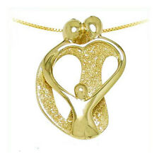 Loving Family Necklace, 14K Yellow GOLD 2 Parents & 1 Child Mother's Pendant