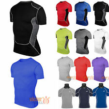 Mens Compression Base Layer Top Under Shirt Short Sleeve T-Shirts Gym Apparel