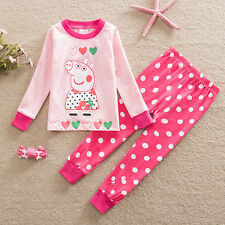 Kids Girls Boys Toddler Peppa Pig Pajama Nightwear Outfit Set Home Wear Clothes