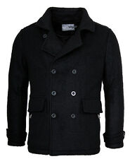 URBAN SURFACE Mens Wool Coat Pea Coat Winter Jacket Parka Caban Navy jacket