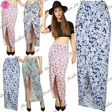 Womens Ladies Floral Wrap Over Side Split Asymmetric Cut Out Ruched Maxi Skirt