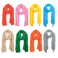 Women Ruched Detail Semi Sheer Soft Simple Casual Scarf ZH