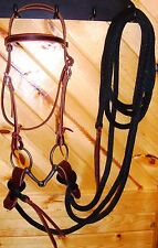 NEW Latigo Bridle Headstall Mecate Rein Snaffle Bit Slobber Straps Horse Tack