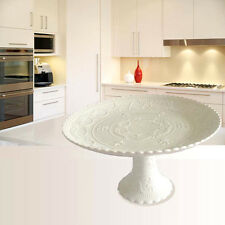 White Cake Plate Stand Embossed Fruits Pedestal Wedding Christmas Party Hitea