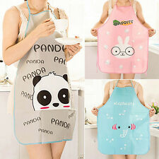 Women Waterproof Cute Cartoon Apron Kitchen Restaurant Cooking BBQ Bib Aprons