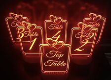 Table numbers, acrylic, light up, Colour/colour changing.