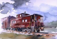 """Lehigh Valley Railroad Red Caboose #95011, Sayre, PA. Rail Art Notecards 5x7"""""""