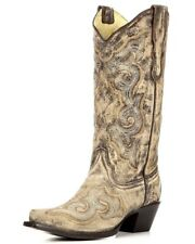 """Corral Ladies 13"""" Snip Toe Leather Cowboy Western Boots Brown E1004"""