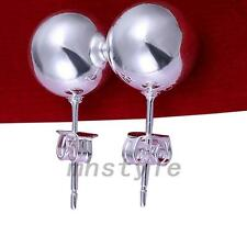 Silver Plated Round Beads Ball Pierced Ear Stud Earrings Festival Holiday Party