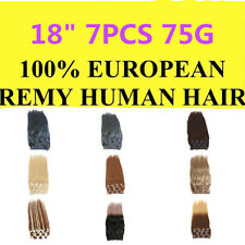 """18"""" 7PCS 75G Clip In Remy 100% Real Human Hair Extensions Double Wefted"""