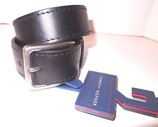 Tommy Hilfiger Logo Mens Black Designer Genuine Leather Embellished Belt 42