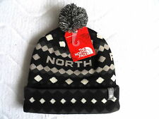 THE NORTH FACE SKI BOBBLE BEANIE Black Grey TUQUE TUKE Hat TAGS OSFA Mens Womens