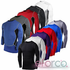 Mens Compression Base Layer Top Long Sleeve Gym Jogger Sports Shirt Jersey Tee