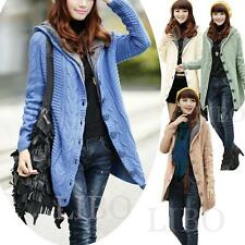Women Lady Sexy Slim Long Cardigan Fleece Hoodie Sweater Knit Outwear Coat Parka