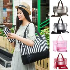 Fashion Striped Mummy Bag Shopping Tote Shoulder Handbag Baby Nappy Diaper Bag