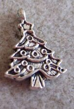 Decorated Christmas Tree Charms- set of 7- Antiqued silver tone