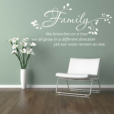 FAMILY LIKE BRANCHES ON A TREE WALL QUOTE Wall Art Decal WALL STICKER N18