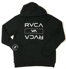 NWT RVCA Logo Hoodie Sweatshirt Black Long Sleeve Mens Sleeve Logo