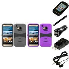 For HTC One M9 Heavy Duty Protection Case Silicone Hard Phone Cover Headphones