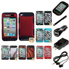 For Apple iPod Touch 4th Gen Hybrid TUFF IMPACT Case Hard Cover Headphones