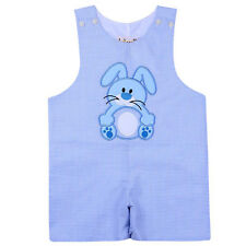 Boys Easter Outfit Blue Check Bunny Shortall Romper NWT Babeeni Infant Toddler