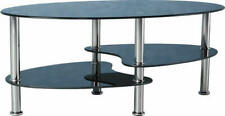 Cara Coffee Table Black Glass/Silver, Clear/Frosted Glass/Silver