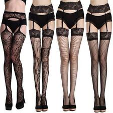 Mesh Fishnet Garter Belt Long Socks Thigh-Highs Open Crotch Sexy Stockings