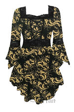 Gothic RENAISSANCE Stretch Corset Style Top GOLD LEAF Size 18/20 to 26/28